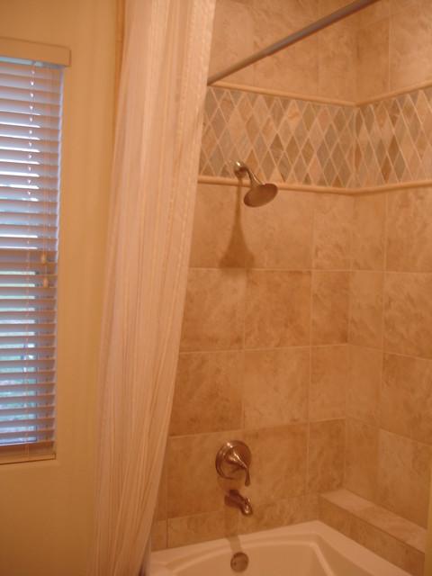 Bathroom - Porcelain Travetine Tile / Jerusalem Stone Accent bathroom