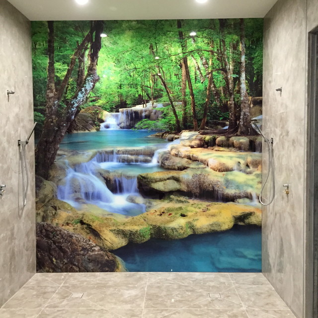 Charmant Bathroom Printed Glass Wall Panel Modern Bathroom