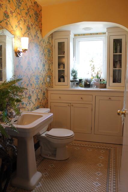 Bathroom redo with wallpaper eclectic-bathroom