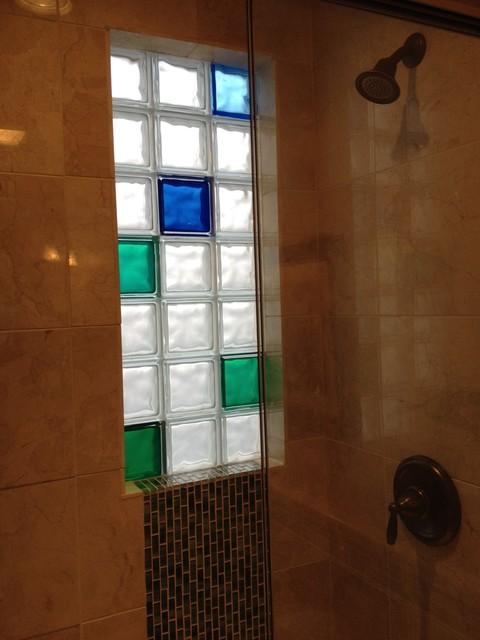 Bathroom Remodel Custom Marble Tile Amp Colored Glass Block