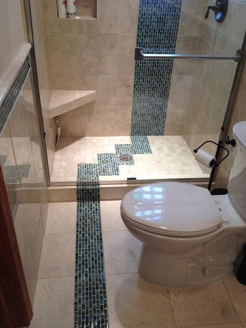 Bathroom remodel custom marble tile colored glass block for Caribbean bathroom ideas