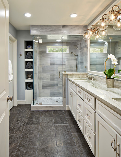 Elegant Master Gray Tile Corner Shower Photo In Dallas With White Cabinets An Undermount Sink
