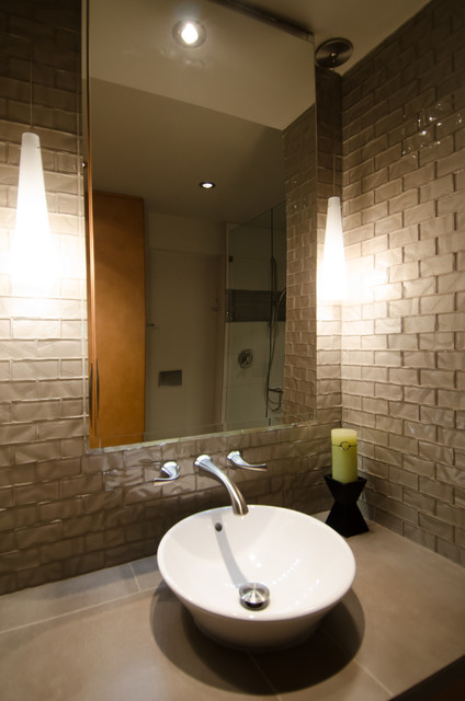 Bathroom remodel with curbless shower modern bathroom for Bathroom remodeling portland or