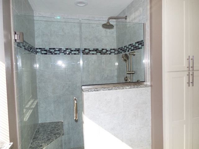 Bathroom Remodel With Double Sink Vanity And Custom Glass Shower