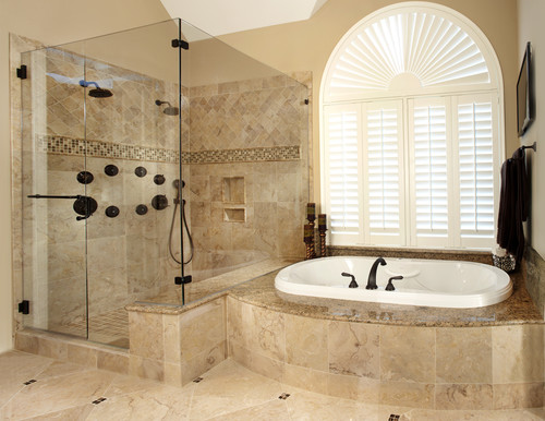 What are the dimensions of this shower love the double shower head and wondering if i have Bathroom design ideas houzz