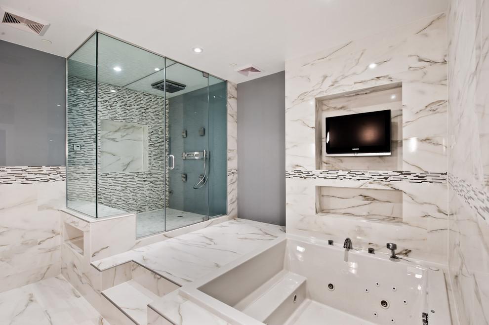 Bathroom - modern bathroom idea in DC Metro with a hot tub