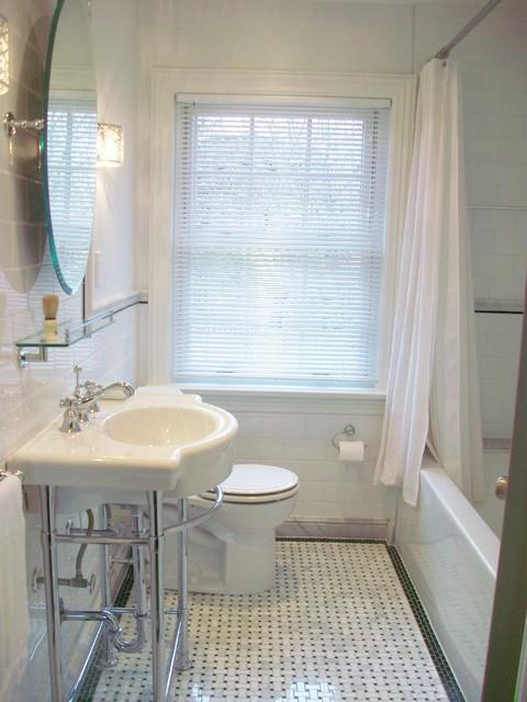 Bathroom Reno With Basketweave Floor Tile And Black Border