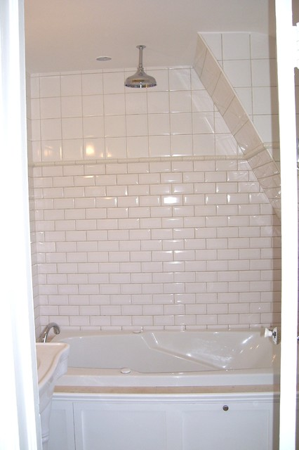 Bathroom Reno With Mix Of Bevelled Subway Tile And Square