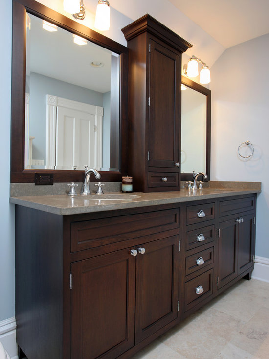 Double vanity with towers design ideas pictures remodel for Espresso bathroom ideas