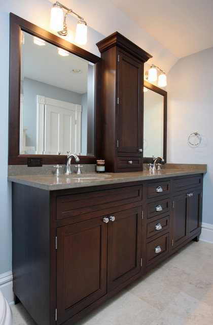 Bathroom renovation traditional bathroom chicago by normandy remodeling for Bathroom vanity upper cabinets