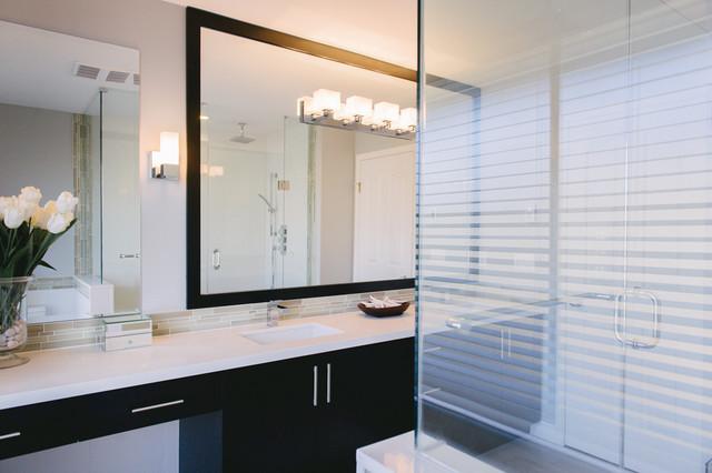 Elegant  Floor Tile  Not So Plain White Bathroom With Great Walkin Shower, Grey &amp White Floor Tiles And Grey Countertop Add