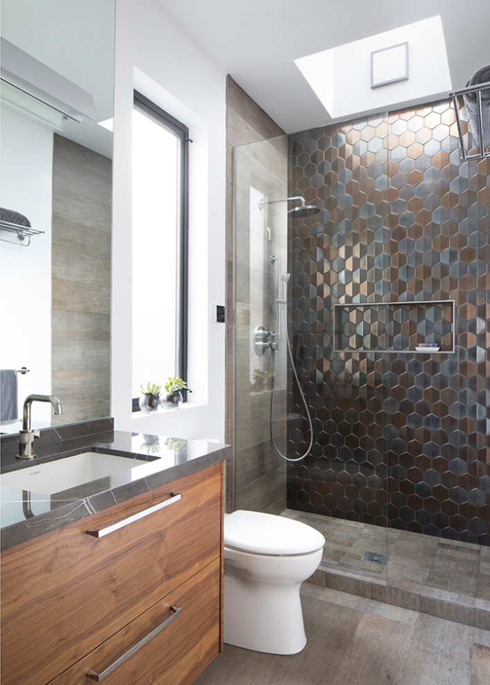 Inspiration for a contemporary single-sink open shower remodel in San Francisco with flat-panel cabinets, marble countertops, gray countertops and a floating vanity