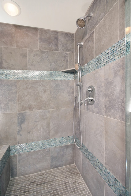 Bathroom Shower In Cool Blue Tile Traditional