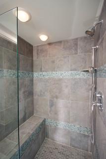 Bathroom Shower In Cool Blue Tile Contemporary Bathroom