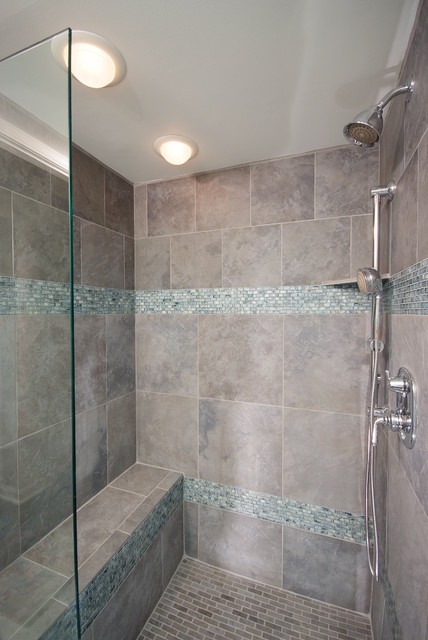 Bathroom Shower In Cool Blue Tile Contemporary