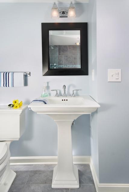 bathroom - shower in cool blue tile traditional-bathroom