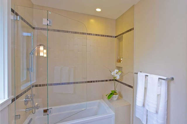 Bathroom Shower Over Tub Swinging Frameless Door Niche Contemporary