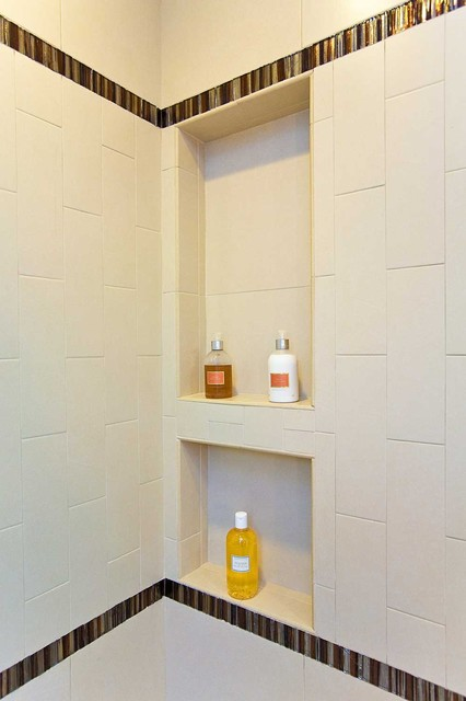 bathroom shower shelving, niche, bench modern-bathroom