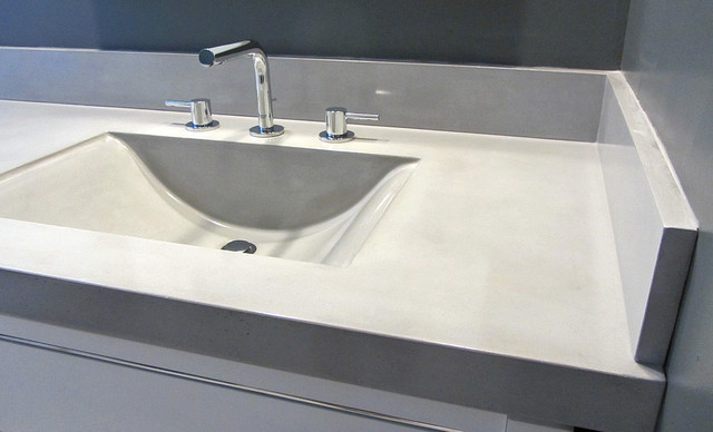Bathroom Sink Countertop And Backsplashes Modern Bathroom Tampa By Coastal Concrete Design
