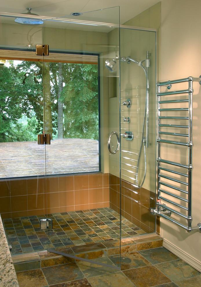 Alcove shower - eclectic multicolored tile alcove shower idea in Portland