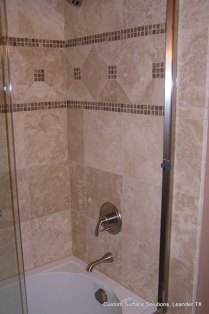 Bathroom - Travertine Tile Tub Surround with Accent Tile traditional-bathroom
