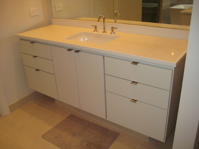 Bathroom vanities caesarstone eggshell quartz for Bathroom ideas with quartz