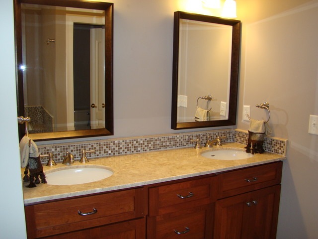 Bathroom vanity tops and backsplashes for Images of bathroom backsplashes