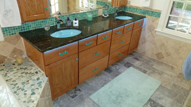 Bathroom vanity with Uneek Glass Fusions sea glass cabinet ...