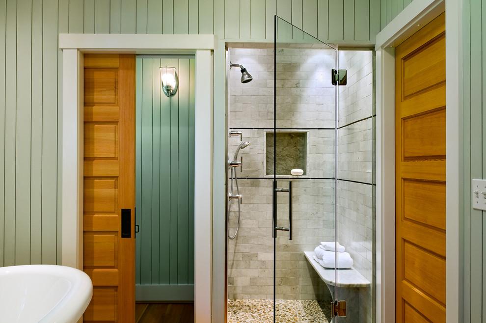 Inspiration for a coastal subway tile pebble tile floor bathroom remodel in Portland Maine