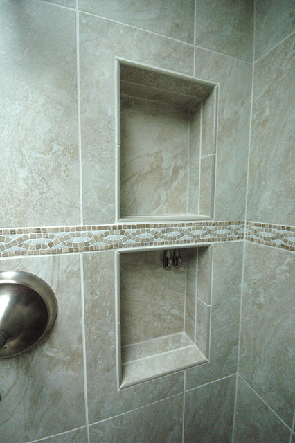 Bathroom with double niche and neo angle shower craftsman-bathroom