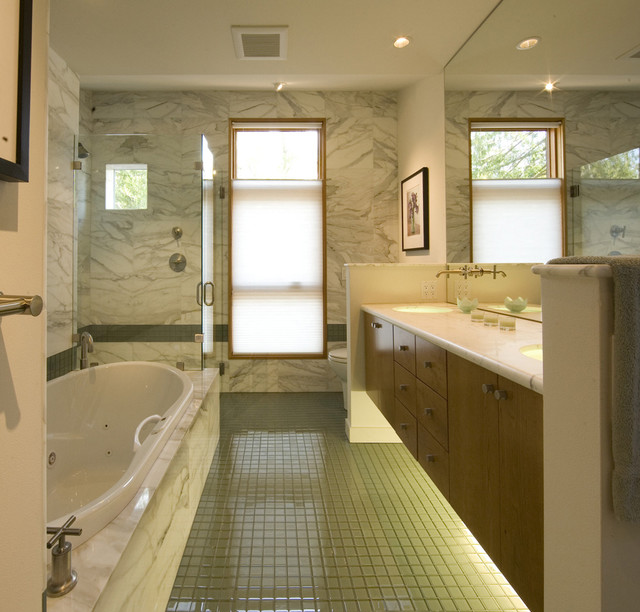 Bathroom with glass floor - Contemporary - Bathroom - seattle - by Pelletier + Schaar