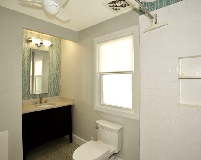 Bathroom with mural