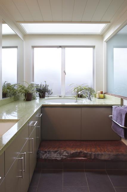 Bathroom with swinging door and reclaimed wood step modern-bathroom