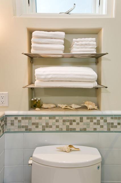 Bathroom With Towel Niche And Chrome Shelves