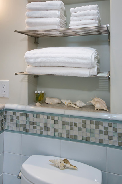 Bathroom With Towel Niche And Chrome Shelves