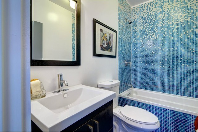 Bathroom with Vibrant Blue Tile - Modern - Bathroom - Los ...