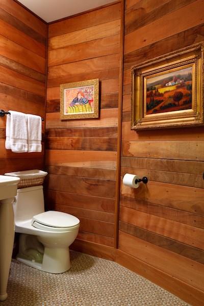Bathroom With Wood Paneling Eclectic Bathroom