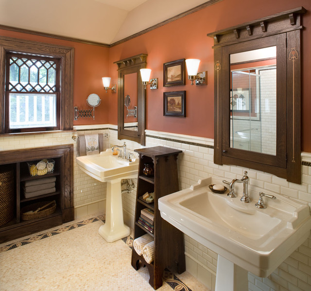 Craftsman Bathroom Design Of Bathroom1 Hill House Craftsman Bathroom New York