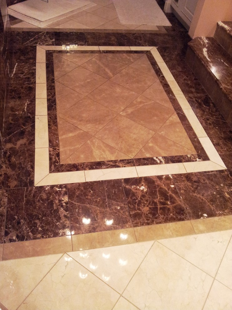 Bathroom - large traditional master marble floor bathroom idea in Indianapolis with an undermount sink, furniture-like cabinets and marble countertops
