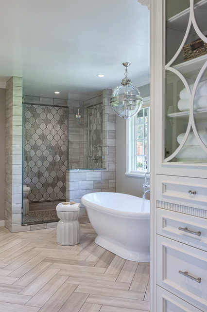Inspiration For A Timeless Gray Tile Freestanding Bathtub Remodel In San Francisco With Recessed Panel