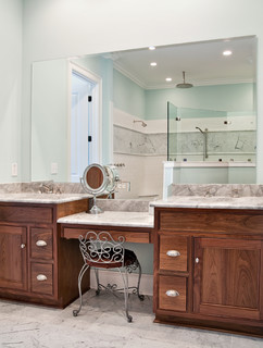 Custom Bathroom Vanity Legs bathroom design: getting tile around the vanity right — american