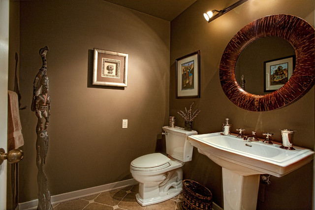Inspiration for an eclectic beige tile and porcelain tile porcelain floor bathroom remodel in Seattle with a pedestal sink, a two-piece toilet and brown walls