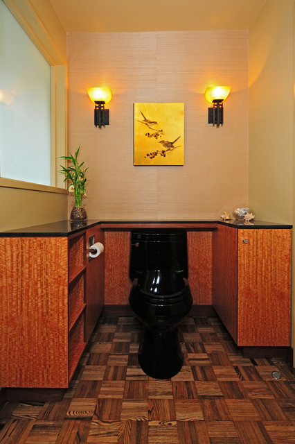 Example of a zen master dark wood floor bathroom design in Seattle with a vessel sink, open cabinets, medium tone wood cabinets, granite countertops, a two-piece toilet and beige walls