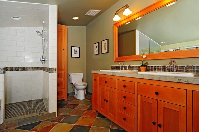 Inspiration for a craftsman master multicolored tile slate floor bathroom remodel in Seattle with a drop-in sink, shaker cabinets, medium tone wood cabinets, a two-piece toilet and gray walls