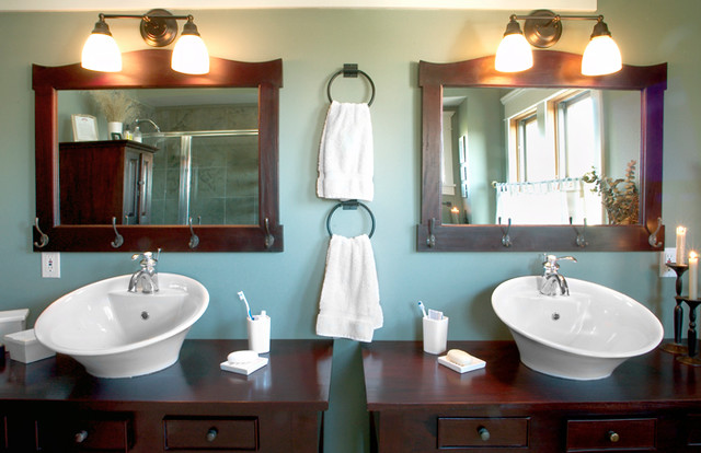 Arts and crafts master multicolored tile and stone tile slate floor bathroom photo in Seattle with a vessel sink, furniture-like cabinets, dark wood cabinets, wood countertops, a two-piece toilet and green walls
