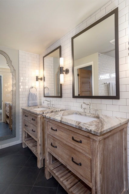 Mid-sized tuscan master white tile and ceramic tile porcelain floor and black floor bathroom photo in Seattle with furniture-like cabinets, distressed cabinets, a one-piece toilet, gray walls, an undermount sink and quartzite countertops