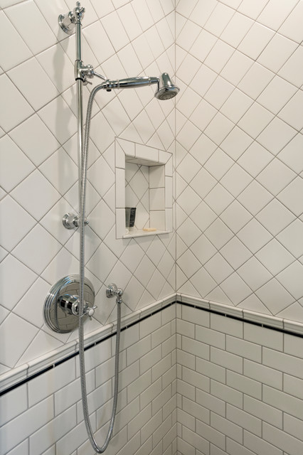 Inspiration for a small craftsman 3/4 white tile and ceramic tile marble floor and white floor corner shower remodel in Seattle with furniture-like cabinets, gray cabinets, a one-piece toilet, gray walls, a vessel sink and a hinged shower door