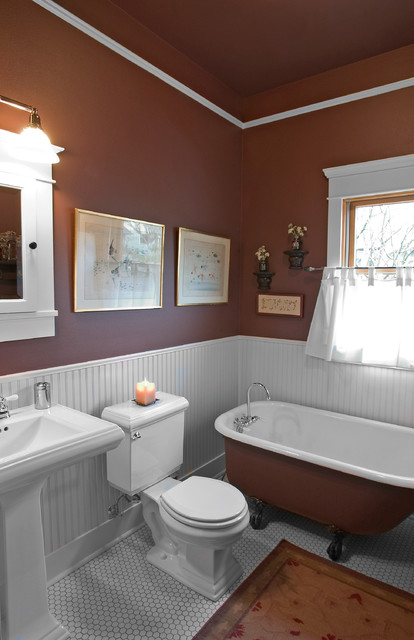Example of an arts and crafts master white tile and ceramic tile ceramic floor claw-foot bathtub design in Seattle with a pedestal sink, a two-piece toilet and brown walls