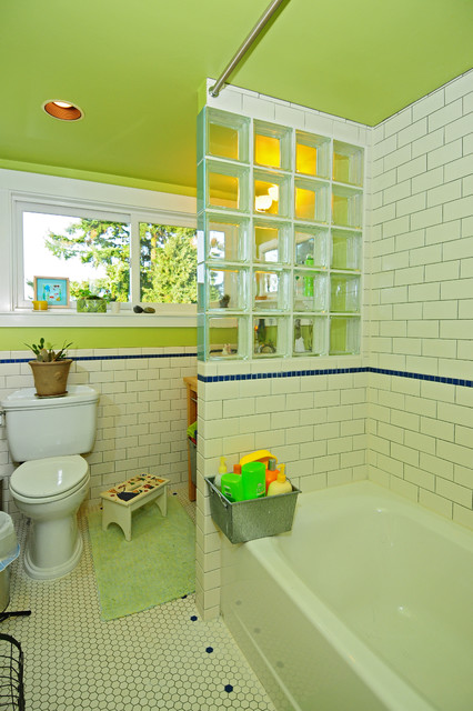 Bathroom - craftsman kids' white tile and ceramic tile ceramic floor bathroom idea in Seattle with a drop-in sink, open cabinets, light wood cabinets, wood countertops, a two-piece toilet and green walls