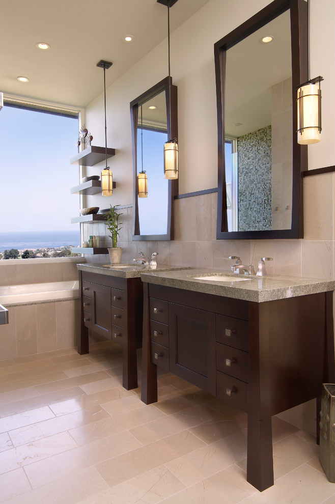 Drop-in bathtub - mid-sized coastal master blue tile, green tile and mosaic tile porcelain tile and beige floor drop-in bathtub idea in San Diego with dark wood cabinets, furniture-like cabinets, beige walls, an undermount sink and granite countertops